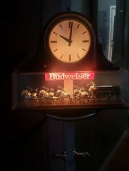 Budweiser Clydesdale Horse Beer Light And Clock Vintage