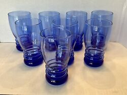 Cobalt Blue Hand Blown 16 Oz Glasses Set Of 8 In Mint Condition