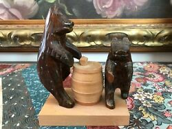 Antique Wooden Hand Carved Papa Bear And Baby With Barrel Original Solid Wood