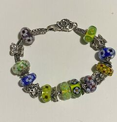 Authentic Trollbeads Bracelet With Genuine Silver And Unique Flower Beads.