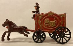 Vintage Cast Iron Toy Circus Wagon -- 2 Horses-driver