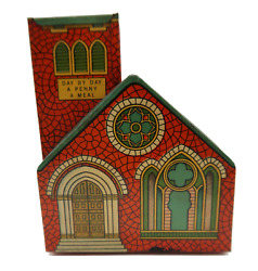 Vintage J. Chein And Co. Tin Church Still Bank W/ Key Day By Day A Penny A Meal