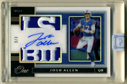 2019 Panini One Card Of Josh Allen With Buffalo Bills Numbered 3/3 Card 172 Wow