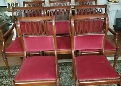 Queen Anne 6 Side Chairs And 2 Armchairs Set