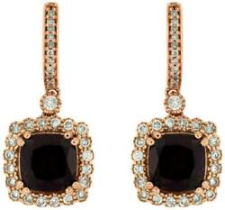 5.18ct Diamond And Aaa Rhodolite 14k Rose Gold 3d Cushion And Round Hanging Earrings