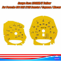 280km/h Gauge Face For Porsche 981 982 718 Boxster Cayman / Macan Turbo Yellow