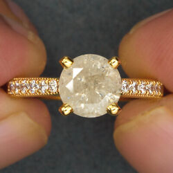 2 Ct 8mm Fancy White Loose Natural Diamond With Accents 14k Yellow Gold Ring