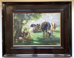 Original Dutch Impressionism The Cows Herd Keeper And Dog Otto Dill Antique Oil