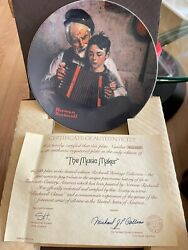 🔥knowles Norman Rockwell Plate The Music Maker 1981 Le W/ Certificate Authe