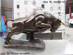 Chinese Classic Pure Bronze Copper Made Lucky Wall Street Wealth Bull Ox Statue