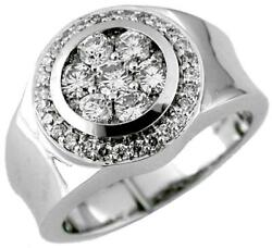 Estate Wide 1.50ct Diamond 14kt White Gold 3d Cluster Round Classic Mens Ring