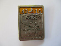 Wwii 1950s Ford Automatic Transmission Div Livonia Metal Employee Id Badge Pin