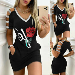 ❤️Womens Cold Shoulder Bodycon Ladies Summer Beach Party Casual Sport Mini Dress $18.69