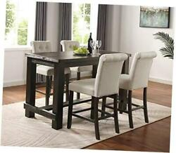 Aneta Antique Black Finished Wood 5-piece Counter Height Dining Set, Tan