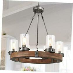 Farmhouse Chandelier Wood Round Wagon Wheel 6-light Fixture With Seeded Glass