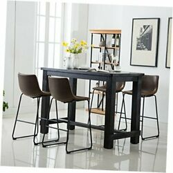 Bronco Antique Wood Finished Dining Set Table And Four Bar Stools Brown
