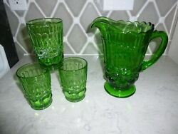 Forest Green All Seeing Eye Depression Glass Pitcher And Glass Tumblers