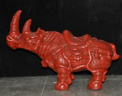Old Chinese Lacquerware Lucky Animal Feng Shui Cattle Rhinoceros Rhino Statue