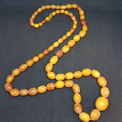 Genuine Antique Butterscotch Amber Necklace, More Than 70 Oval Beads, 35.5 Grams