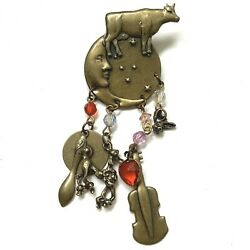 Cow Jumped Over The Moon Brooch Pin Vintage Nursery Rhyme Celestial Brass Tone
