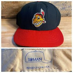 Vintage Cleveland Indians Roman Pro Wool Hat Rare Made In Usa Hat Fitted Size 7