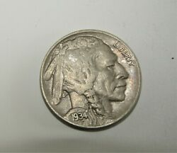 1934-d Buffalo Nickel Error Double On Date And B In Liberty