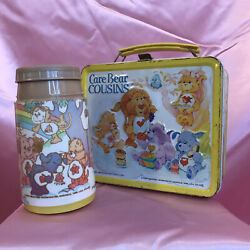 Care Bears Cousins Metal Lunchbox Thermos W/ Lid American Greetings Aladdin 1985