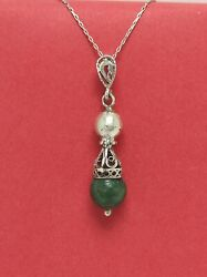 Vintage Ancient Malachite 925 Sterling Silver Necklace Israel Handmade Jewelry