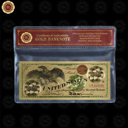 1863 100 Banknote Collectible 24k Gold Plated Paper Bill With Bag And Certificate