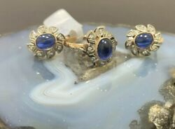 Russian Vintage Rose Gold Set Ring Earring With Blue Sapphires Diamonds 583 14k