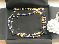 Sold Authentic Pearl Long Necklace Gold Faux Pearl Lapis