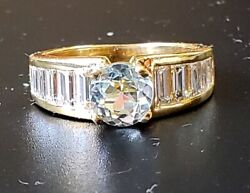 Vintage Aquamarine And Baguette Diamond Ring 2.40 Ctw 18k Yellow Gold Size 6