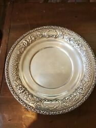 Wallace Hand Chased Sterling Silver 10in Serving Tray