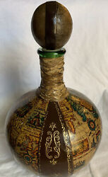 Vintage Decanter Made In Italy Leather Wrapped World Map Glass Bottle