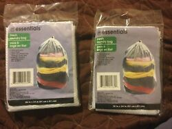 """Laundry Bag Mesh W Draw String White Polyester 24""""x36"""" Lot Of 2 Bags"""