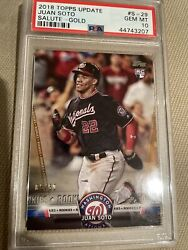 2018 Topps Update Juan Soto Gold Psa 10 /50 Rc Rookie Card - Salute Only 50 🔥