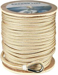 Amarine Made Heavy Duty Double Braid Nylon Anchor Line White/gold 5/8 X 300and039