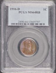 1916-d 1c Lincoln Cent - Type 1 Wheat Reverse Pcgs Ms64rb