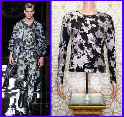 F/w 2012 Look 26 Versace Gray Floral Military Cotton Long Sleeve T-shirt Size M