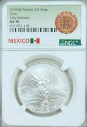 2019 Mexico Silver Libertad 1/2 Onza Ngc Ms 70 First Releases Scarce Perfection