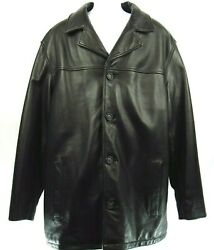 London Fog Men's Leather Button Down Coat Jacket Long Sleeve Xlt Fully Lined
