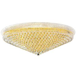 Empire Ceiling Light, D48x H16, L33, Gold Finish, Clear Crystal