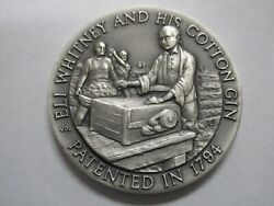 Sterling Silver Eli Whitney And His Cotton Gin 1794 Round Coin Commemorative