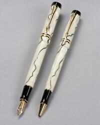 Parker Duofold Andldquoaceandrdquo Pearl And Black Centennial Fp Xf And Rb Pair