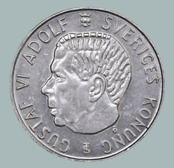 1955 Sweden King Gustaf Vi Adolf Silver Ag Coin Coinage 5 Kronor Km829 Sw119