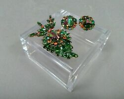 Weiss Estate Jewelry Set Green Brooch And Clip-on Earrings