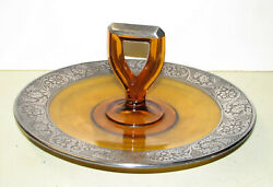 Serving Tray - Amber Glass And Sterling  10 1/2 Diameter.  5 Tall.