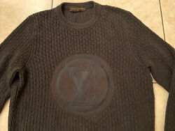Authentic Louis Vuitton Circle Lv Embroidered Knit Gray Silk Blend Sweater Sz S