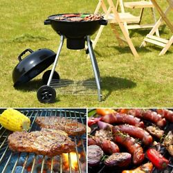 Kettle Charcoal Grill Stainless-steel With Wheels Black 18.5 For Bbq Outdoor