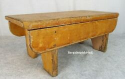 Early 1800 Primitive Mortised Wood Cut Out Legs Childs Timeout Stool Crock Bench